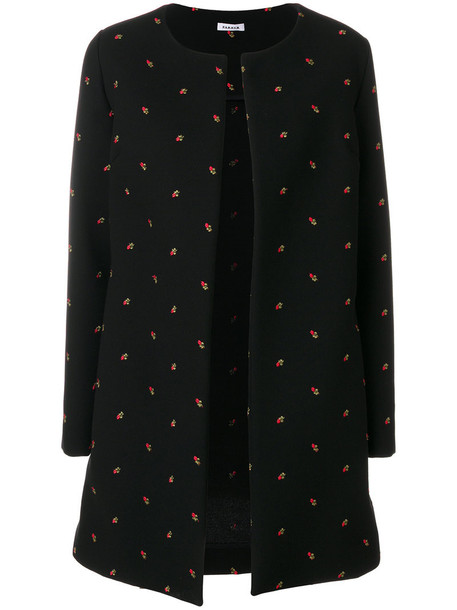 P.A.R.O.S.H. coat embroidered rose women black wool