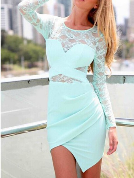dress mint lace blonde hair prom party mint dress blue dress