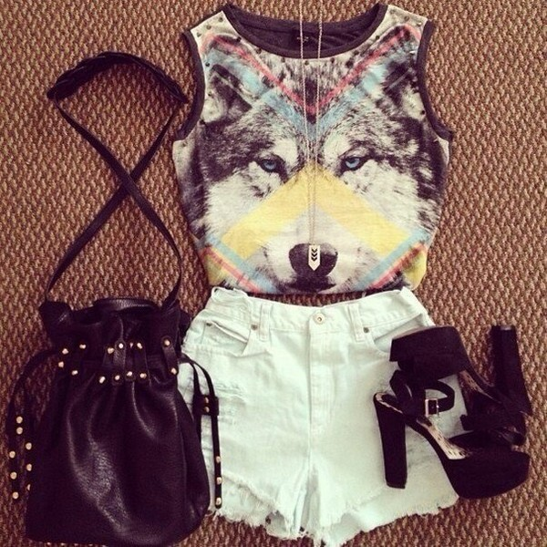 t-shirt triangle shorts top wolf denim shorts shoes heels hipster print wolf print