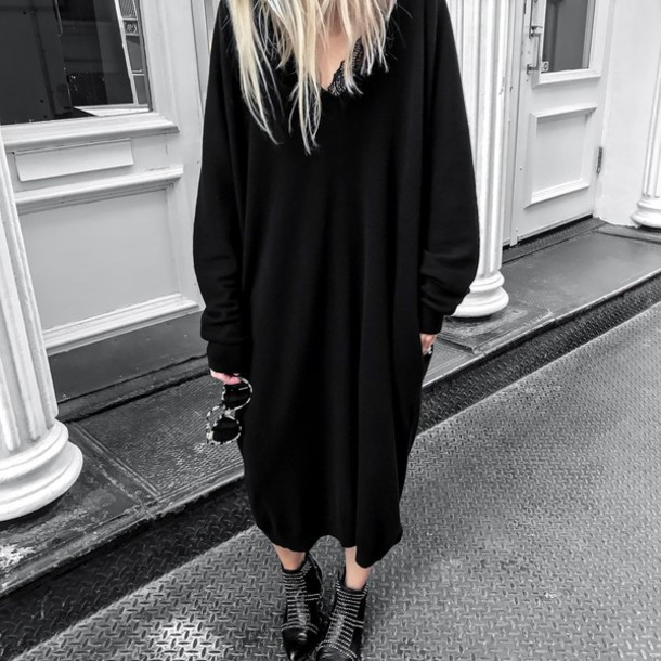 dress maxi knit dress tumblr maxi dress knitted dress black dress sweater  dress boots ankle boots f027e5f7b
