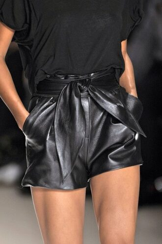 shorts black leather ems.address black leather short black shorts leather classic winter outfits