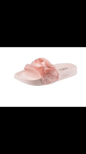 shoes fenty x puma fur slides rihanna red pink