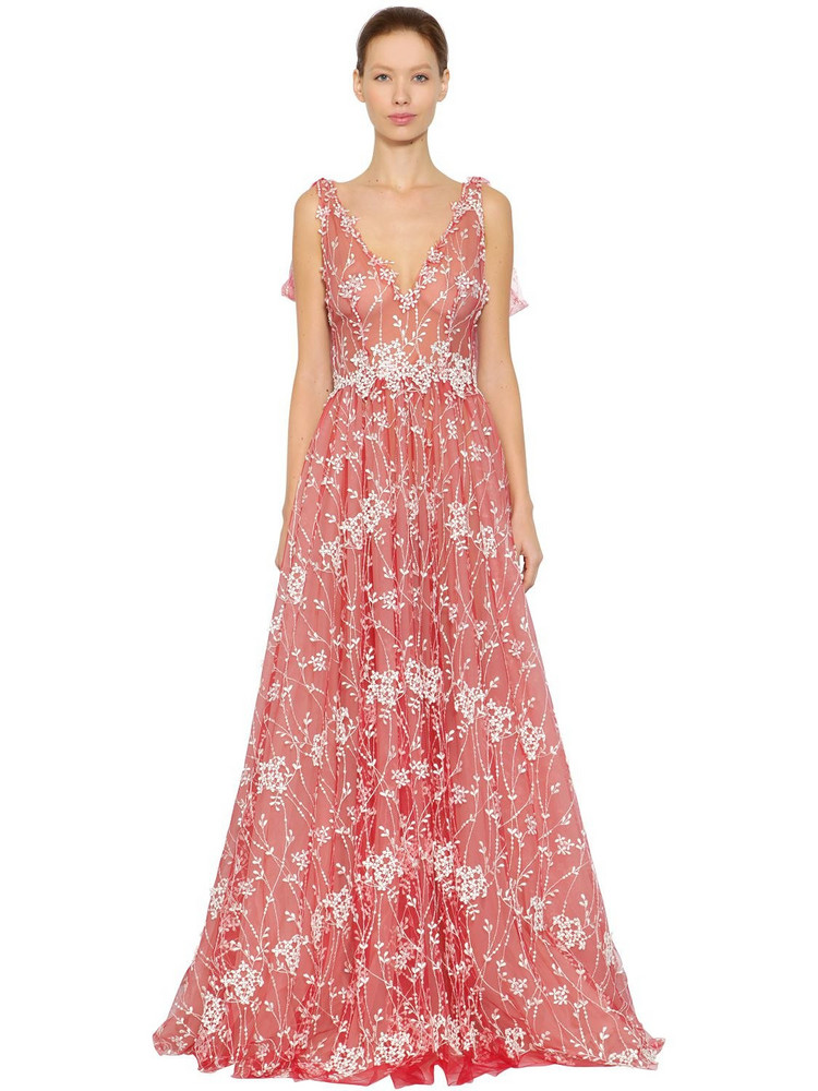 LUISA BECCARIA Floral Embroidered Tulle Dress in red