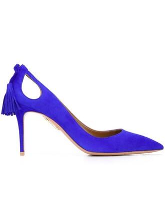 cut-out pumps blue shoes