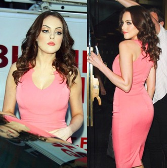 dress pink pink dress elizabeth gillies amazing summer dress party dress evening dress formal dress red carpet dress victorious