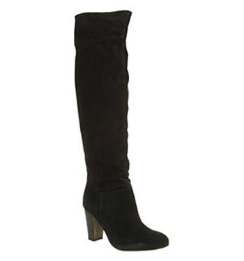 Office jasmine knee boot black suede shoes