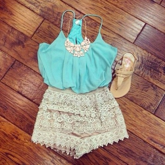 shorts tank top lace shirt blue shirt cream sparkle jewels necklace statement necklace sandals teal lace shorts pattern patterned shorts blouse