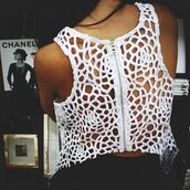 tank top,white tank top,white,cut-out,zip,pretty,shirt,back,cute,t-shirt,lace,top,crochet,summer,beach,white top,crop tops,flowers,clothes,love more,summer outfits,brown skin,tanned girl,ripped,cheriechantal,tumblr,pattern,white shirt,white crop tops,holes,blouse,open back,see through,girl,amazing,transparent,skin,spiderwed tank top,singlet,sleeveless top,lace tank top,lace croptop,crochet crop top,crochet tank top,cut out tanktop,cutout top,spider web top,hipster,cut out crop top,holey shirt,cage top,sexy,urban,grunge,cut out top,girly,summer top,crochet top
