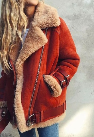 coat red fall outfits fur coat