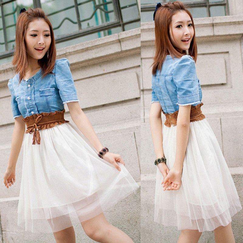 Fashion 2013 summer Women's Vintage Jean Dresses Denim Dress Retro Girl Blue Top White With Belt, Free & Drop Shipping-in Dresses from Apparel & Accessories on Aliexpress.com