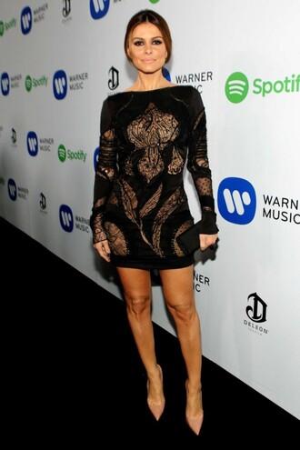dress sheer long sleeves short dress maria menounos grammys 2015