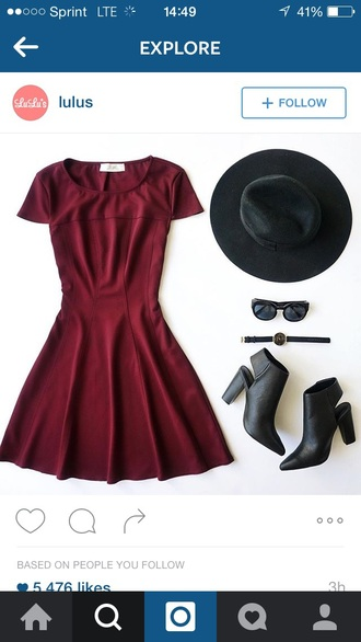 dress burgundy burgundy dress skater dress cute dress summer dress party dress short dress cute cute outfits outfit outfit idea summer outfits spring outfits party outfits date outfit watch hat sunglasses summer accessories boots booties shoes black boots black shoes accessories