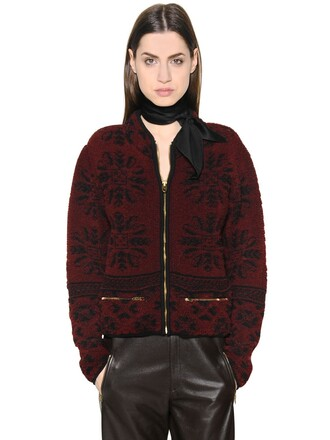 jacket knit jacquard wool black red