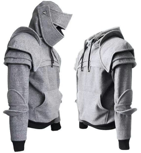jacket grey sweater grey black sweater black sweater sweatshirt hoodie grey hoodie black hoodie top gray sweatshirt armor knight cosplay costume
