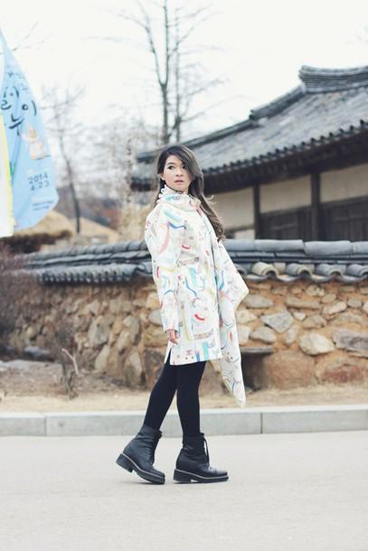 brown platform blogger black boots printed scarf silk scarf