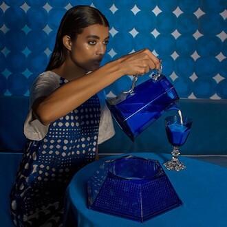dress tsumori chisato trendy fashion summer blue editorial model cotton silk