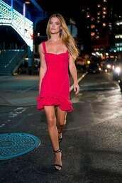 dress,sandal heels,sandals,nina agdal,model,pink dress,mini dress,celebrity,model off-duty