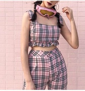jumpsuit,girly,girl,girly wishlist,pink,plaid,two-piece,crop tops,cropped,crop,pants,cute,tumblr