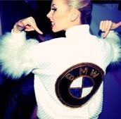 jacket,white,black,bmw,fur,faux fur jacket,dope,mzfits,oh wow,new york city,cute,sexy,instagram,l.a. style,l.a.,designer