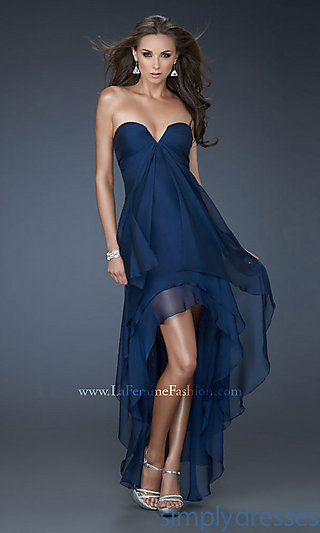 Strapless High-Low Dress, La Femme Prom Dresses - Simply Dresses