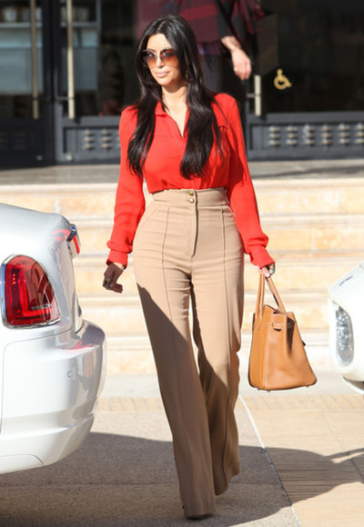 orange blouse spring summer 2014 summer outfits sunglasses spring fashion fashion pants kim kardashian blackbarbie high waisted pants style summer trends tangerine blouse, brown heels birkin bag hermes all cute outfits chiffon top tumblr fashion big sunglasses kim k kim k outfit