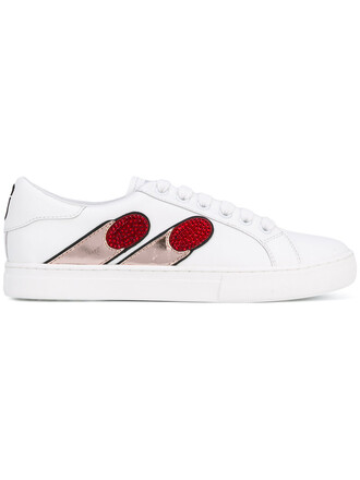 embroidered women sneakers leather white shoes
