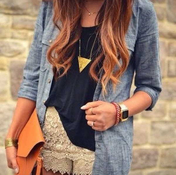 bag orange shirt shorts jewels necklace tumblr white lace shorts t-shirt blue shirt gold jewelry jewelry blouse jacket denim shirt jeans washed out tank top black tanktop flows denim top casual smart lush loving it now lace bracelets