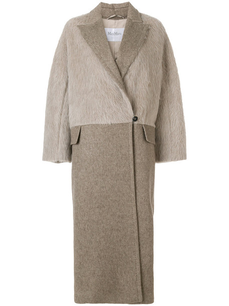 Max Mara coat long women nude wool