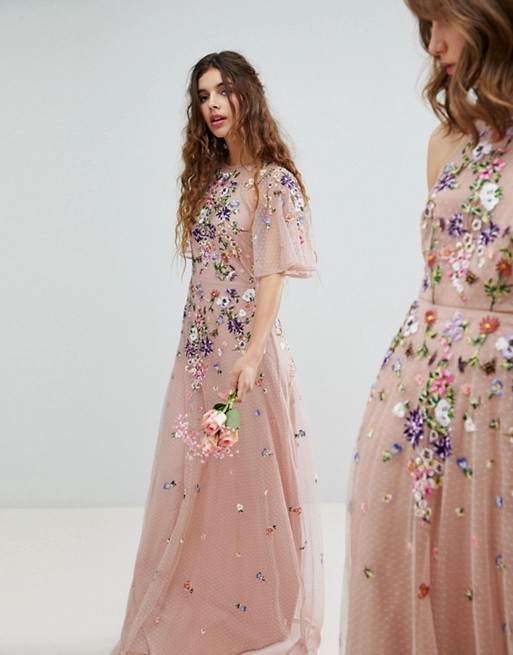 b4d45a87cd ASOS DESIGN Bridesmaid floral embroidered dobby mesh flutter sleeve maxi  dress at asos.com
