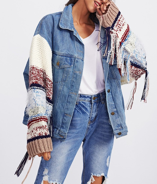 jacket girly blue denim denim jacket fur fringed jacket