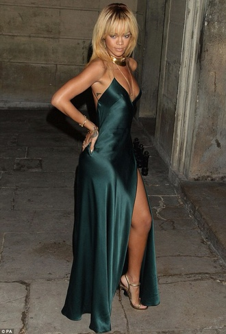 dress rihanna silk slit dress maxi dress green dress green gown slit gown celebrity style green black dress