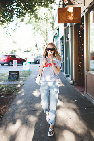 t-shirt tumblr grey t-shirt denim jeans blue jeans sneakers slip on shoes sunglasses shoes