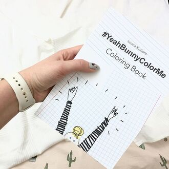 home accessory yeah bunny coloring coloring book colorme cactus cacti bedding nails yeahbunnycolorme