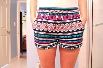 shorts aztec clothes aztec short tribal shorts blue pink shorts