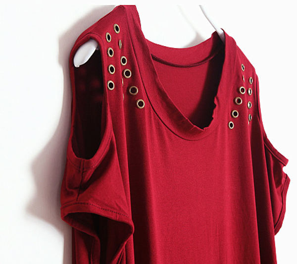 Off-shoulder Tassels T-shirt in Burgundy [DLN0287] - PersunMall.com
