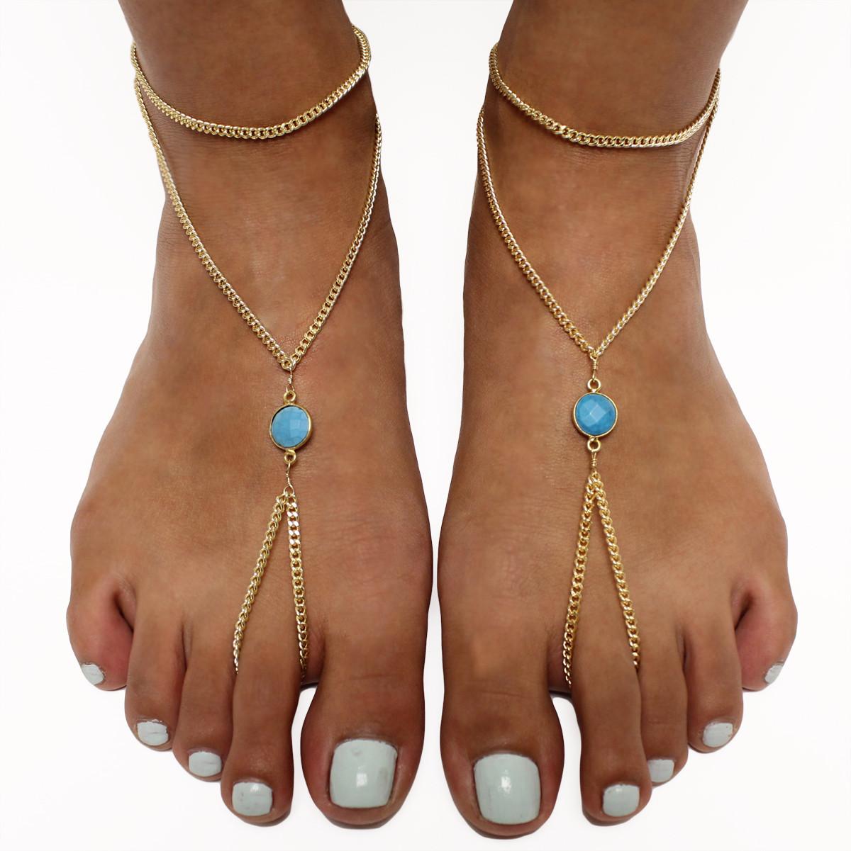 Gemstone Foot Chain