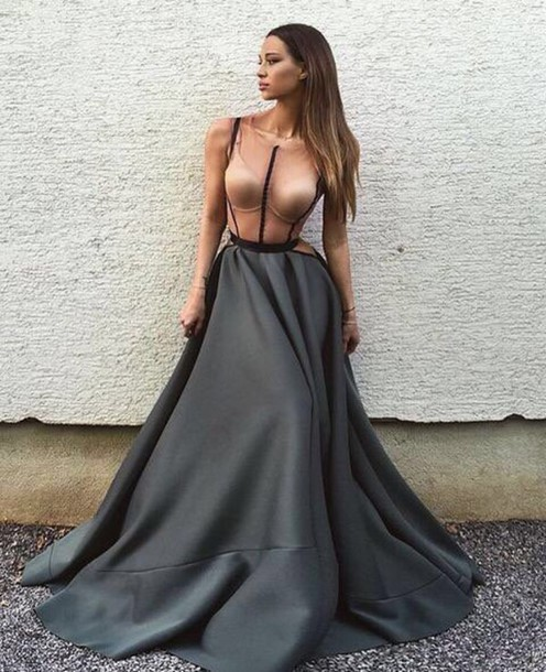 Dress Long Dress Grey Prom Dress Prom Prom Gown Evening Dress