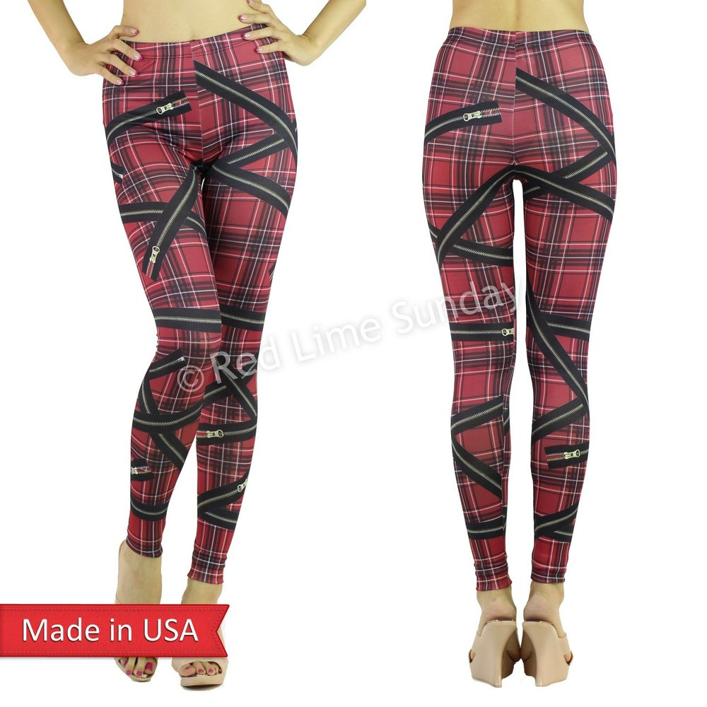 New Red Plaid Tartan Check Zipper Print Punk Rock Goth Leggings Tights Pants USA