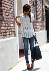 sincerely jules,blouse,jeans,shoes,bag,jewels,point toe shoes,shirt,white,white top,black and white,stripes,top,black t-shirt,striped shirt,loose tshirt,black,striped top,white blouse,demin jeans,denim,plain t shirts