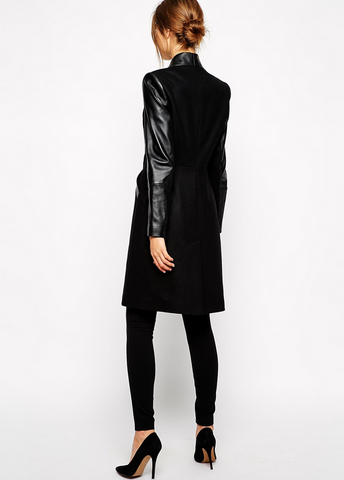 Black leather trench long coat cotton blogger parka jacket elegant