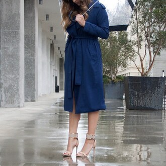 coat trench coat duster navy blue heels rain gojane