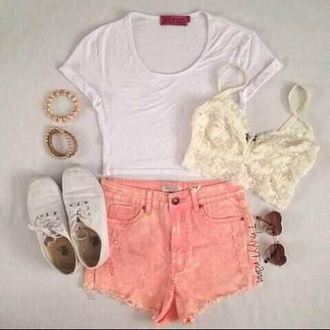 shorts white lace t-shirt shirt v neck pink girly tumblr girl fashion cute outfits cute summer summer outfits shoes blouse jumpsuit white crop tops keds pink shorts bracelets white bandeau lace bralette sunglasses
