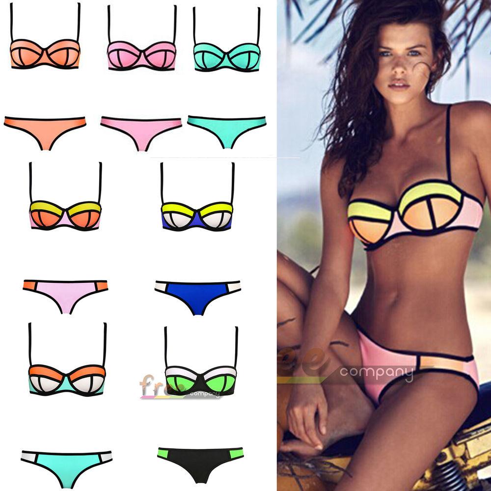 Sexy women bandage triangle bikini set push