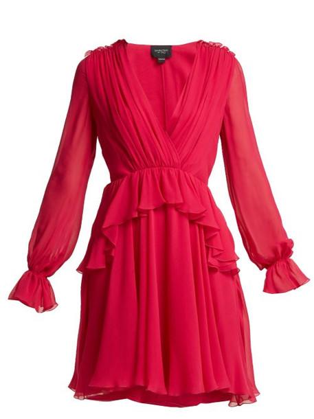 Giambattista Valli - Ruffled Silk Chiffon Mini Dress - Womens - Fuchsia