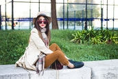shoes and basics,blogger,top,scarf,sunglasses,tartan,mustard,pants,hat