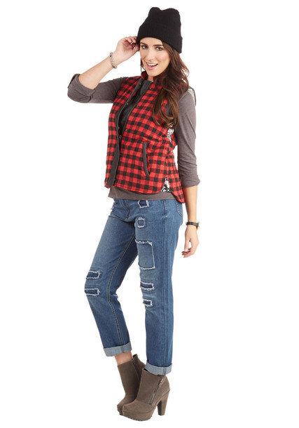 jacket plaid red vest winter outfits