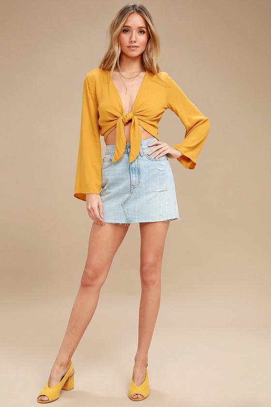 Chic Tie-Front Top - Crop Top - Long Sleeve Top - Yellow Top