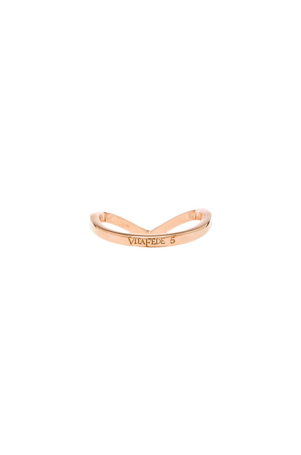 Vita Fede Ultra Mini V Crystal Ring in Rosegold/Clear from REVOLVEclothing.com