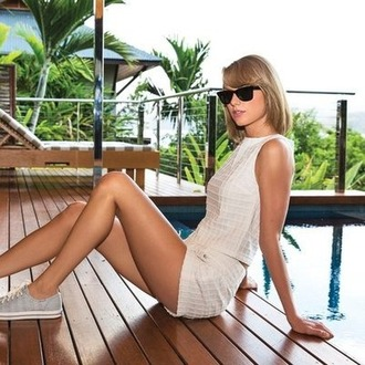 top shorts sunglasses sneakers taylor swift summer outfits two-piece shoes