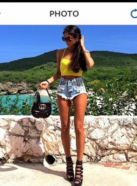 tank top crop tops yellow top summer outfits shoes shorts